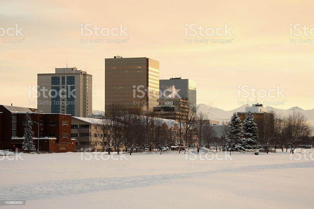 Anchorage Alaska in Winter stock photo
