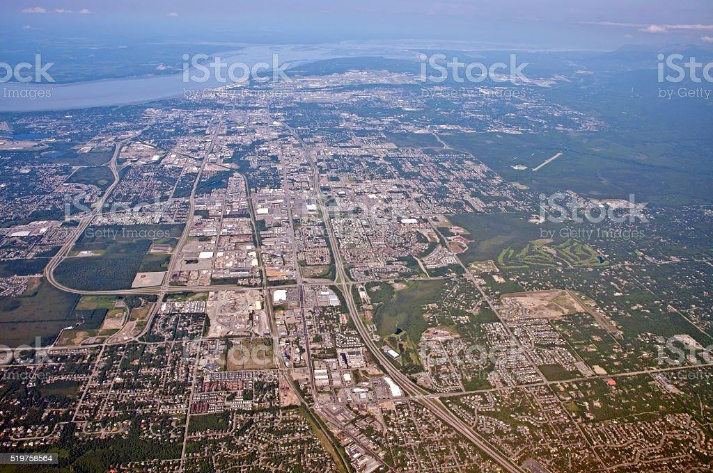 Anchorage, Alaska USA, Aerial View stock photo