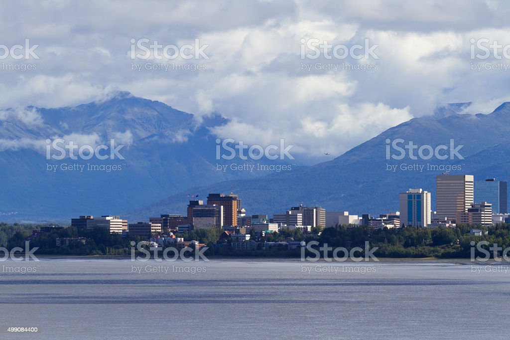 Anchorage Skyline with building signs removed stock photo