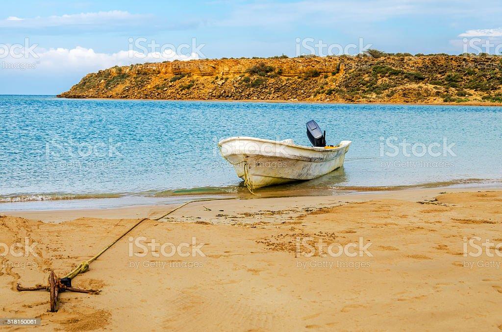 Anchored Boat stock photo