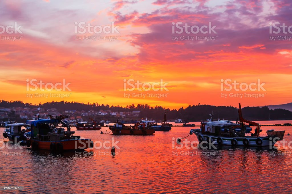 Anchored boats on Xufre harbor stock photo