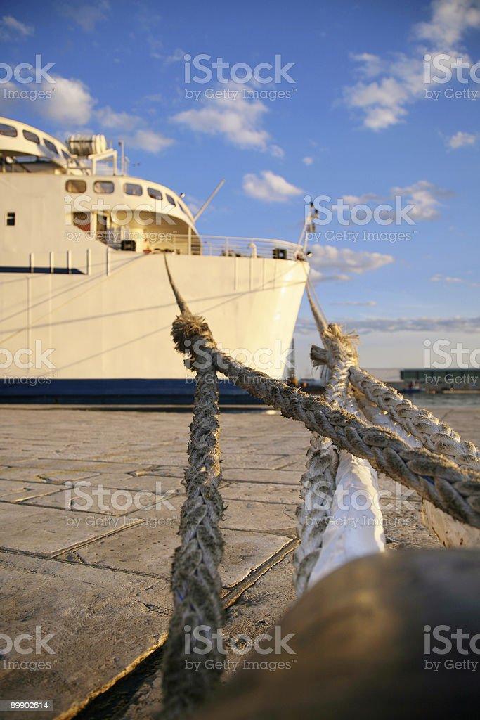 Anchored Ferryboat in Rijeka Harbor royalty-free stock photo