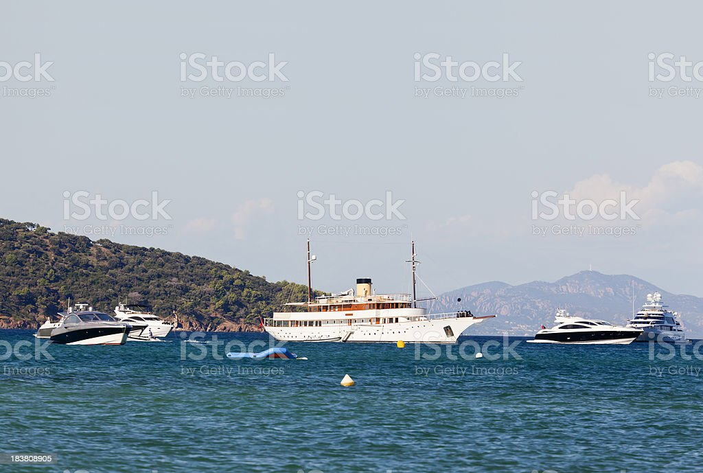 Anchored off St Tropez stock photo