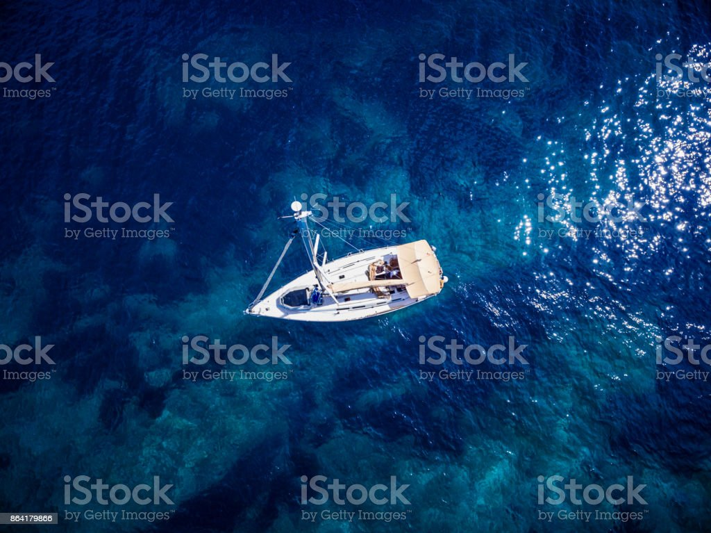 Anchored sailboat, view from drone royalty-free stock photo
