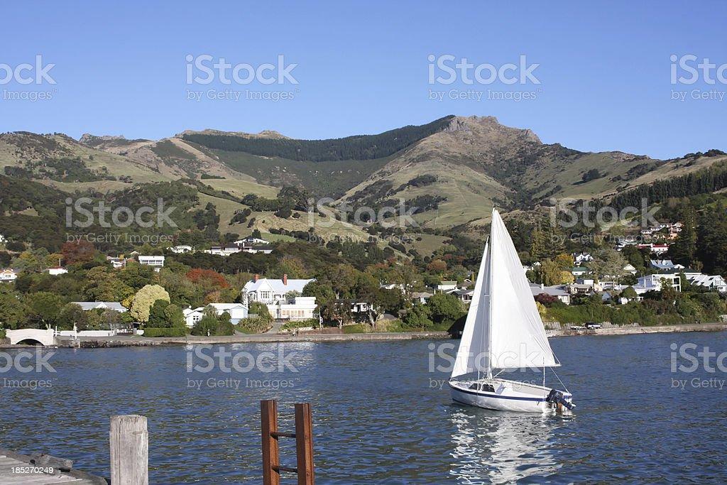 Anchored sailing boat stock photo