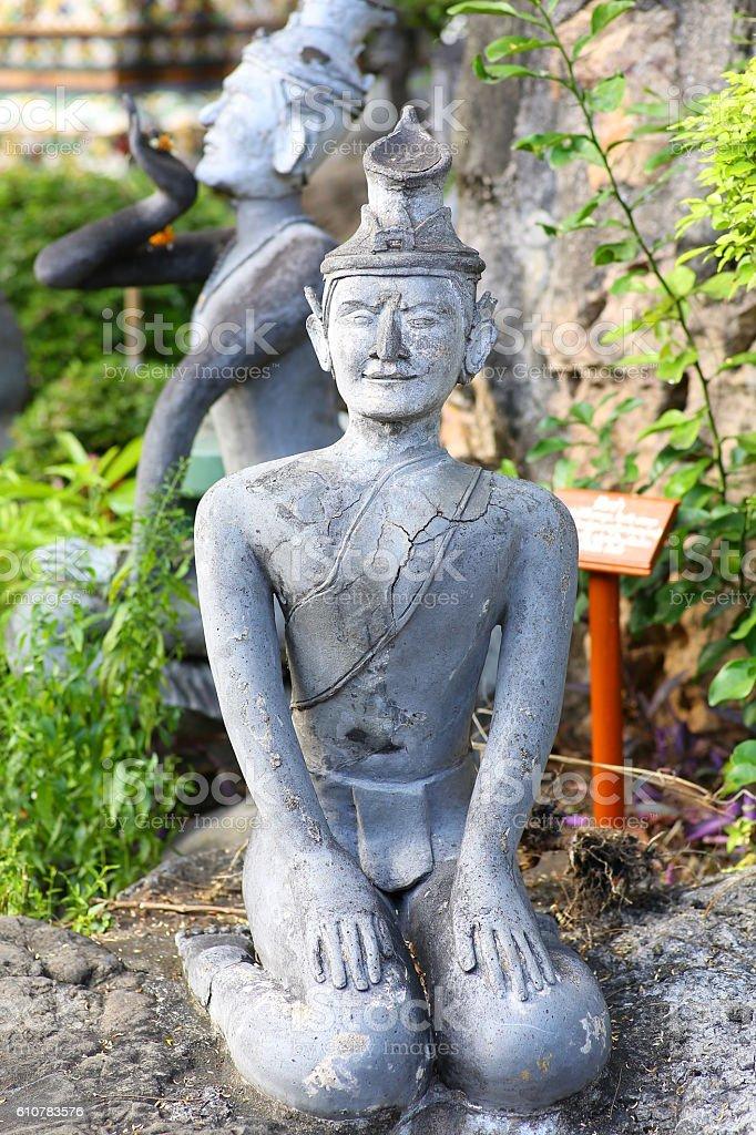 anchorite stone statue at Wat Pho stock photo