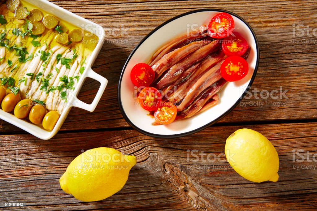 Anchovies vinegar tapas from Mediterranean stock photo