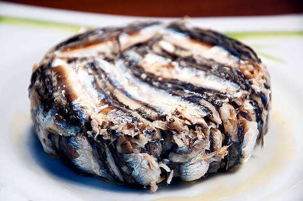 anchovies with rice ( prepared fish) stock photo