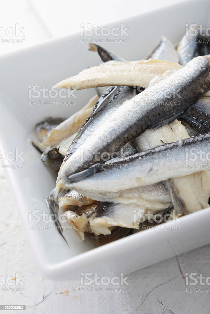 anchovy fillets stock photo