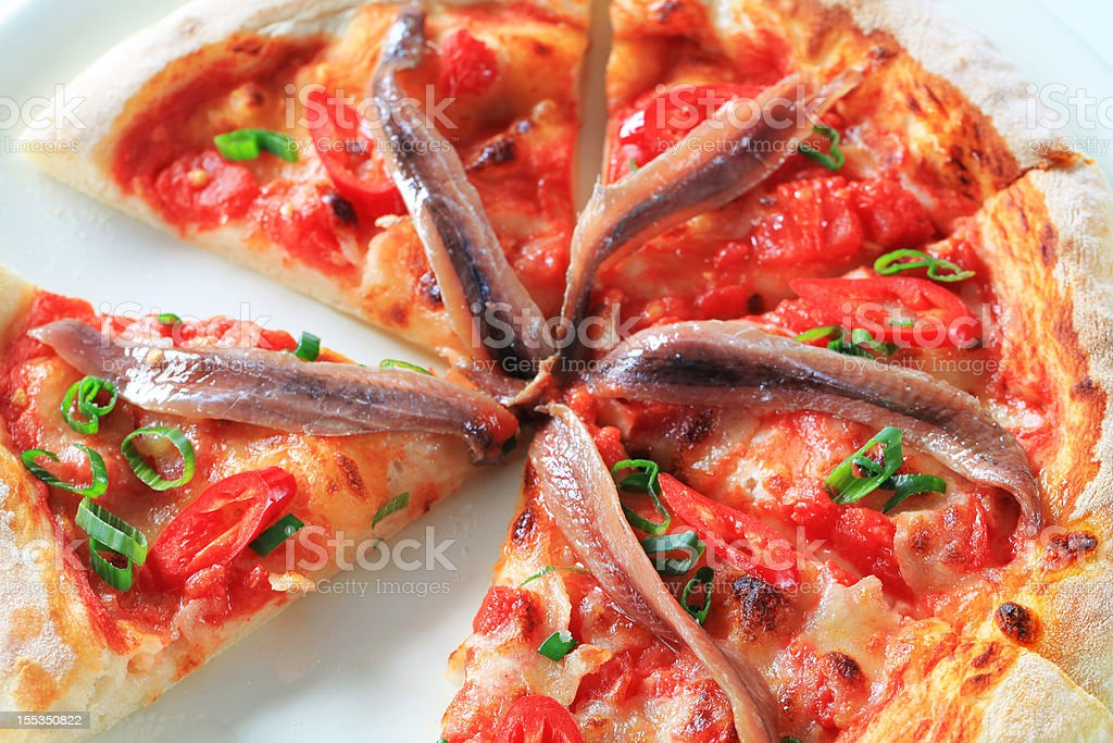 Anchovy pizza stock photo