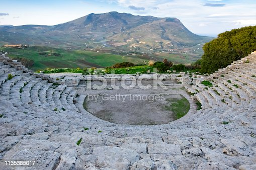 Ancien architecture of ruins Greek amphitheater, Segeste in Sicily, Italy