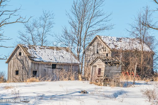 Ancient Abandoned Farm Buildings Adorn A Rustic Winter Landscape Stock Photo More Pictures Of
