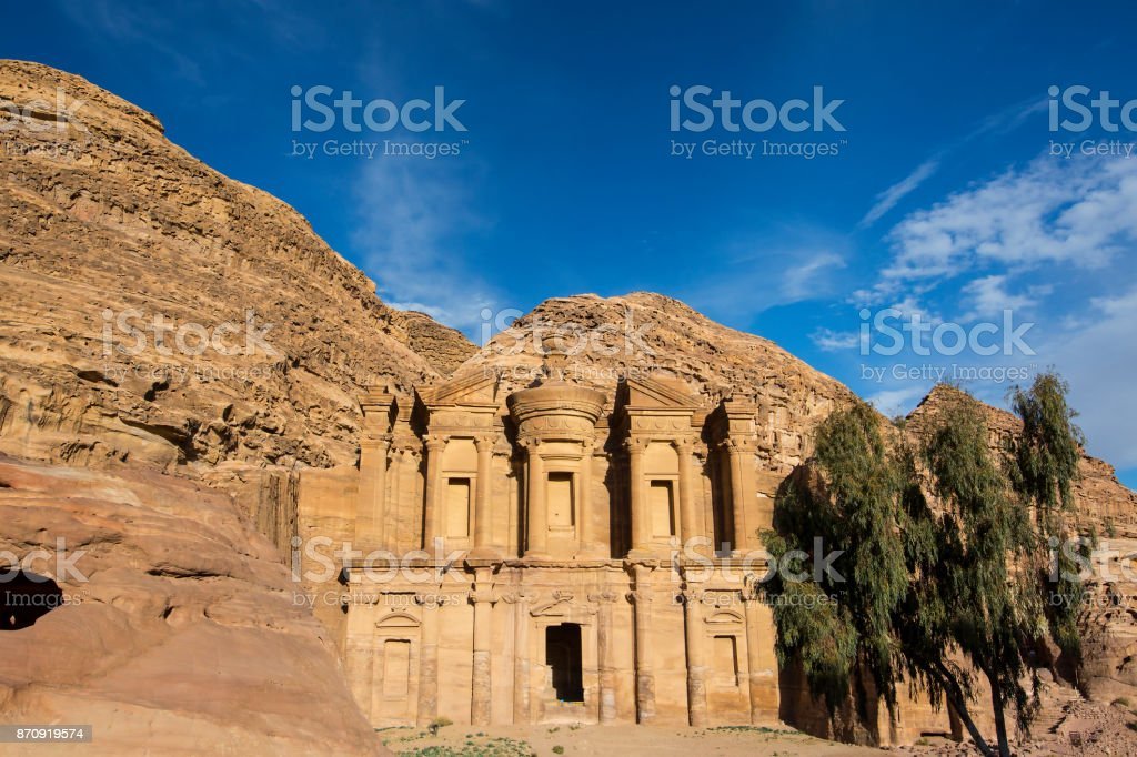 Ancient abandoned rock city of Petra in Jordan stock photo