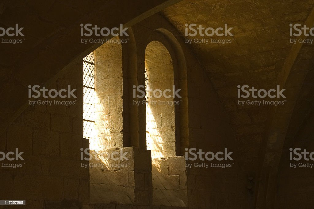 Ancient Abbey Windows stock photo