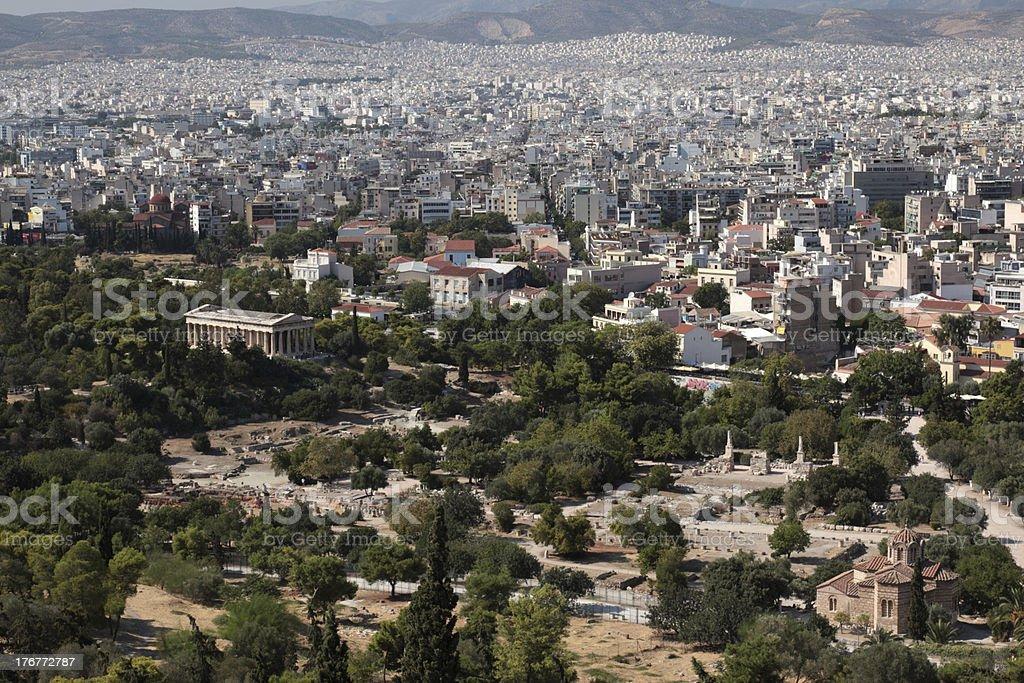 Ancient Agora and Athens City royalty-free stock photo