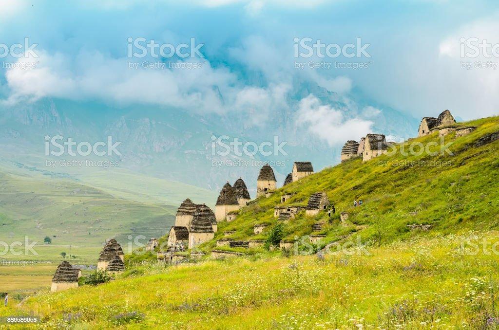 Ancient Alanian necropolis in North Ossetia stock photo