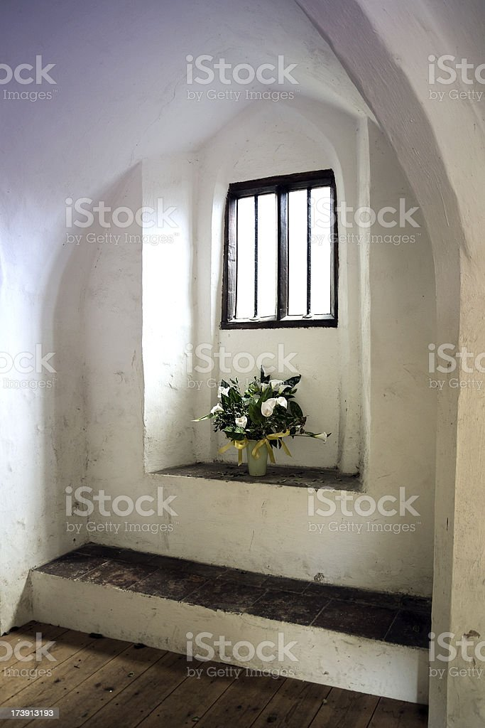 Ancient alcove with flowers royalty-free stock photo
