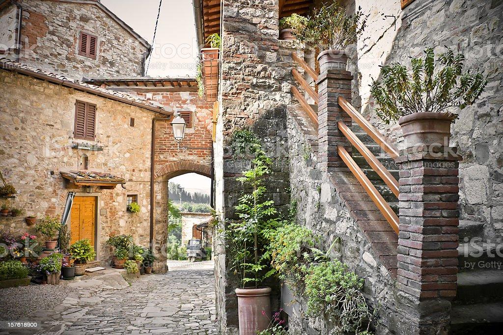 Ancient Alley in Tuscan Village, Chianti Region stock photo
