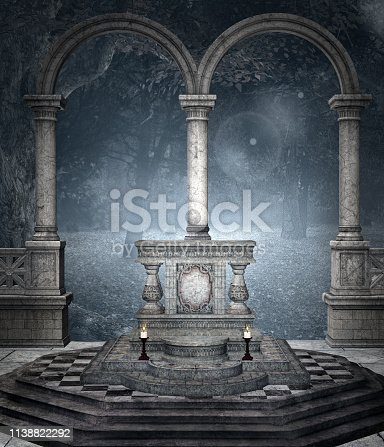 914134406 istock photo Ancient altar in the blue forest 1138822292