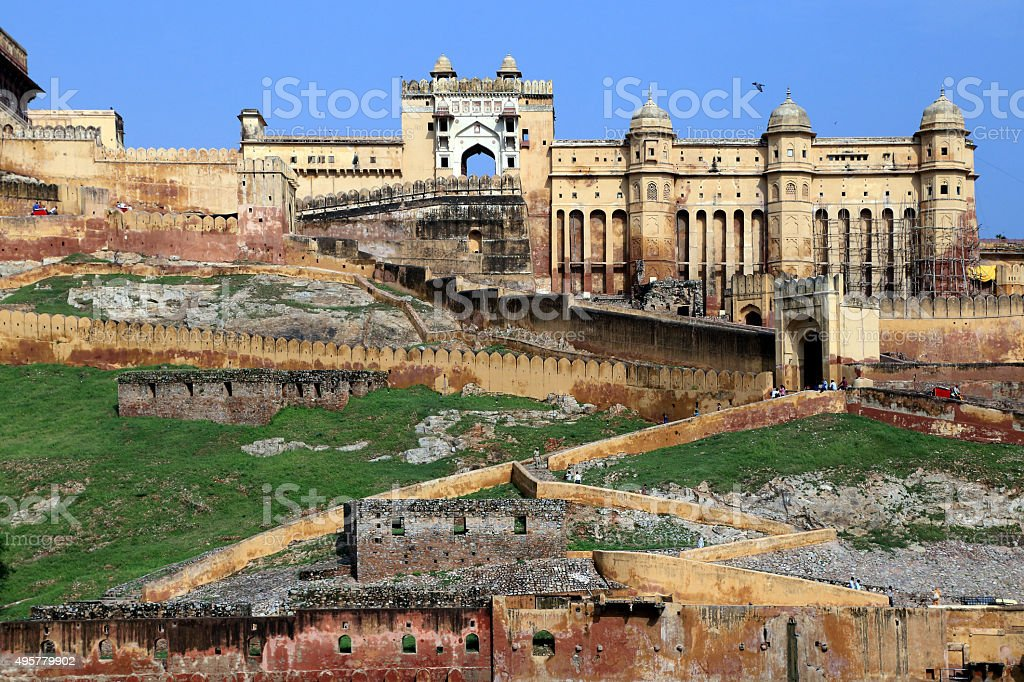 Ancient Amer Fort (Amber Fort), Jaipur, Rajasthan state, India stock photo