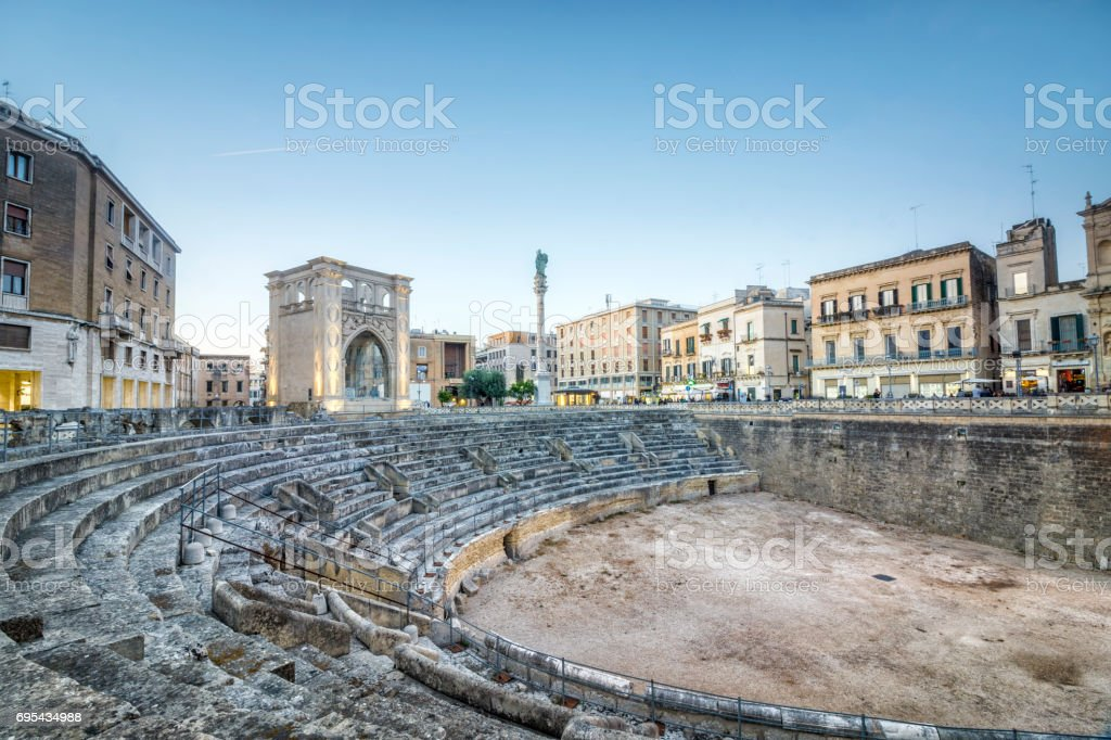 Ancient amphitheater in Lecce, Italy stock photo