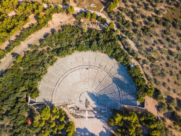 Ancient amphitheater of Epidaurus at Peloponnese, Greece. Aerial drone photo stock photo