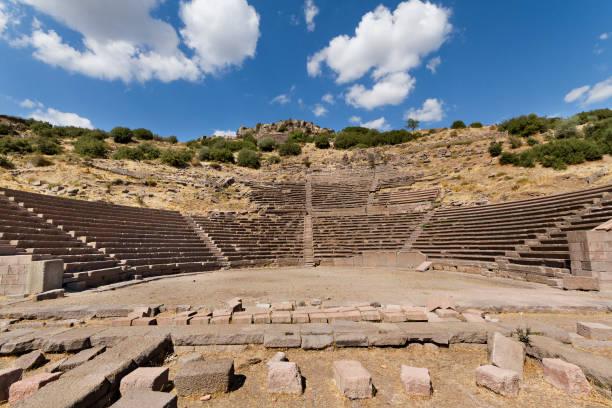 Ancient amphitheatre of Assos, Turkey. stock photo