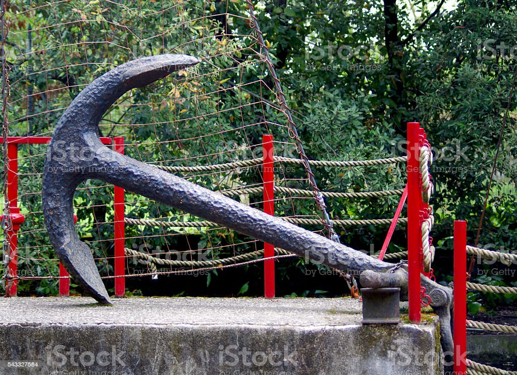 ancient anchor of an old ship stock photo