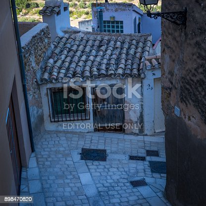 Biar/Spain - July 16, 2017: One of the oldest and smallest houses in the Old Town of the medieval city Biar in Spain