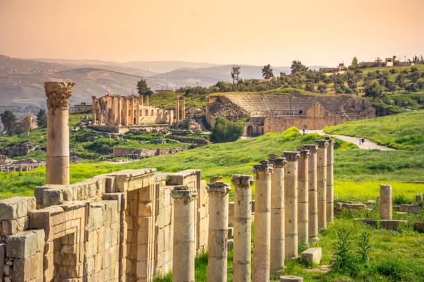 Ancient and roman ruins of Jerash (Gerasa), Jordan. stock photo