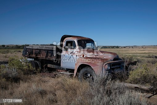 Unused old farming truck in rural Montana USA on 150 year old ranch