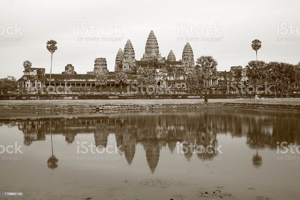 Ancient Angkor Wat and reflection in late afternoon royalty-free stock photo