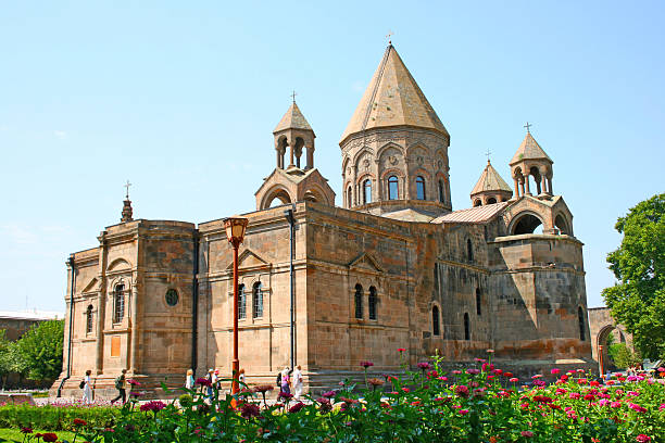 Ancient Apostolic church in Armenia Mother Cathedral of Holy Etchmiadzin, one of the oldest churches in the world, it was first built by Saint Gregory the Illuminator as a vaulted basilica in 301-303, when Armenia had just adopted Christianity as a state religion (the first such in world history). armenian culture stock pictures, royalty-free photos & images