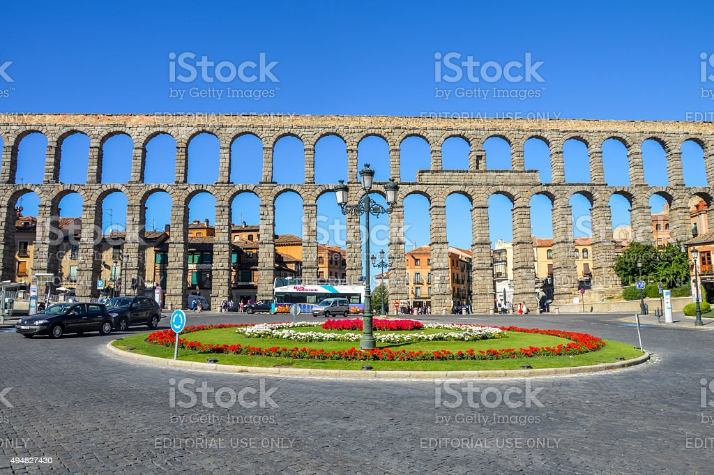 Ancient aquaduct in Segovia, Spain stock photo