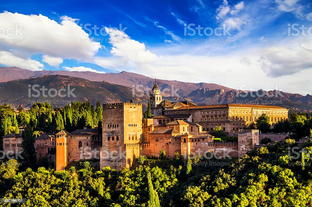 Ancient arabic fortress of Alhambra, Granada, Spain. stock photo