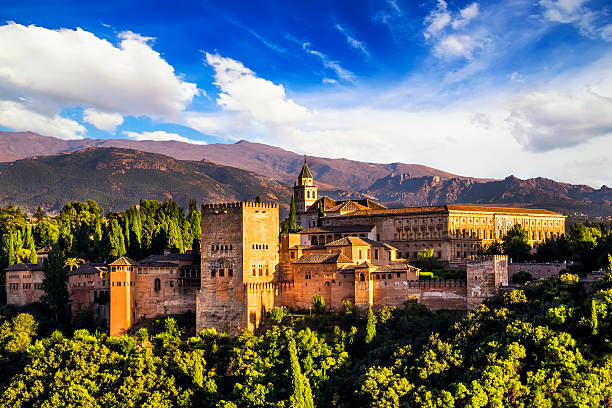 ancient arabic fortress of alhambra, granada, spain. - spain stock pictures, royalty-free photos & images