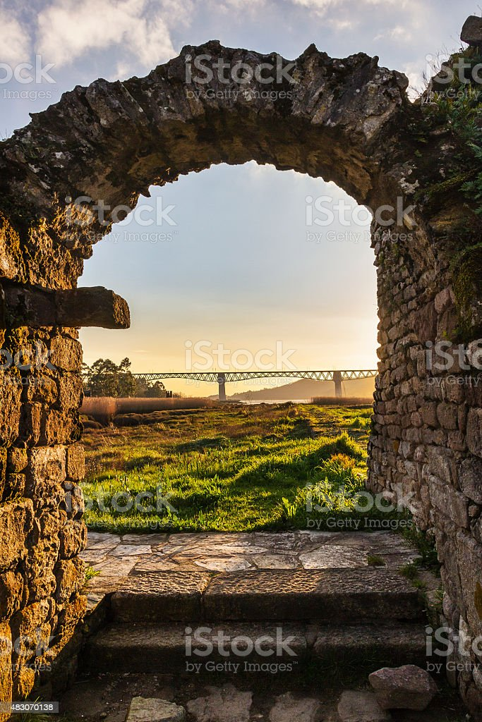 Ancient arch and modern bridge royalty-free stock photo