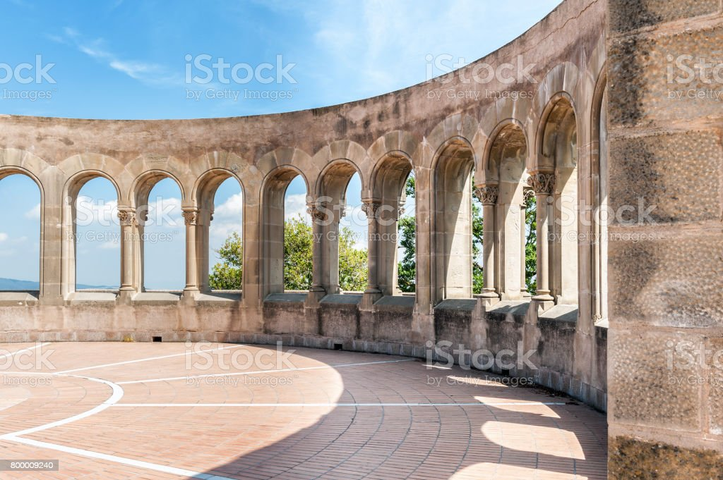Ancient arch at Montserrat monastery in Spain stock photo