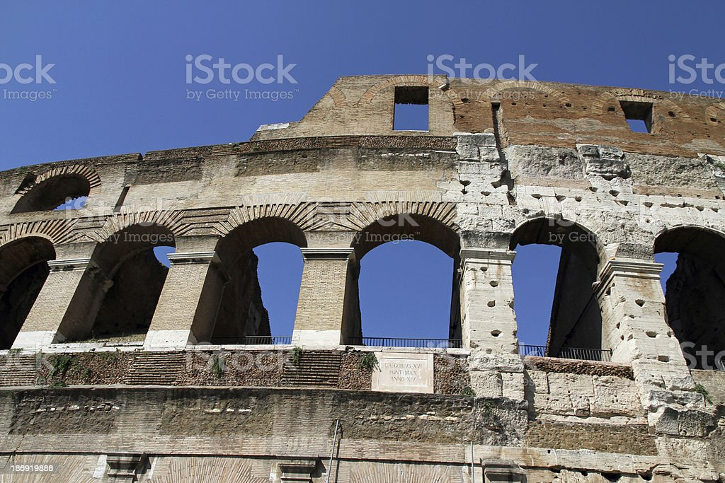 ancient Arch of the Colosseum stock photo