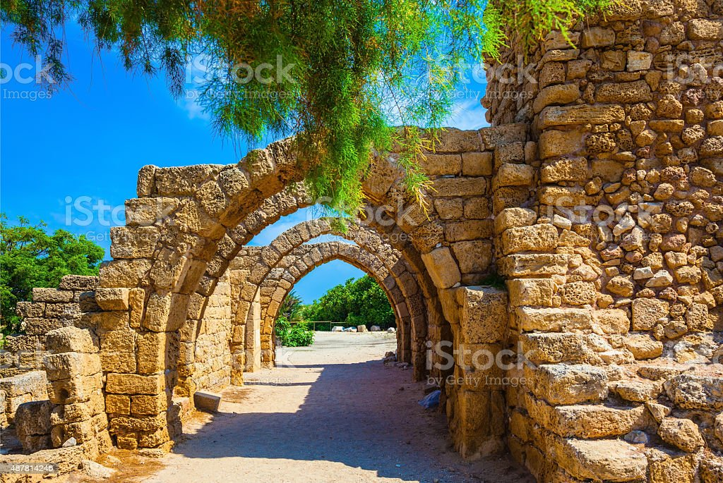 Ancient arched ceiling of stalls stock photo