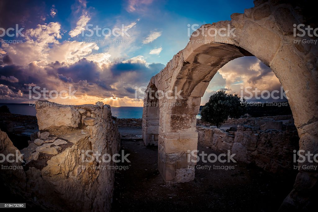 Ancient Arches at Kourion archaeological site. Limassol District stock photo
