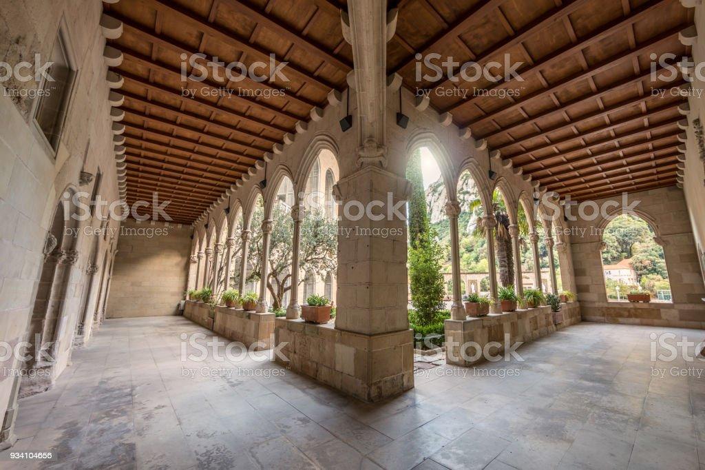 Ancient arches in Montserrat stock photo
