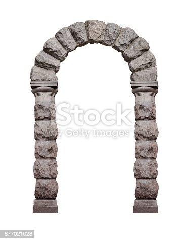 Ancient architectural arch of stone rust isolated on white background.