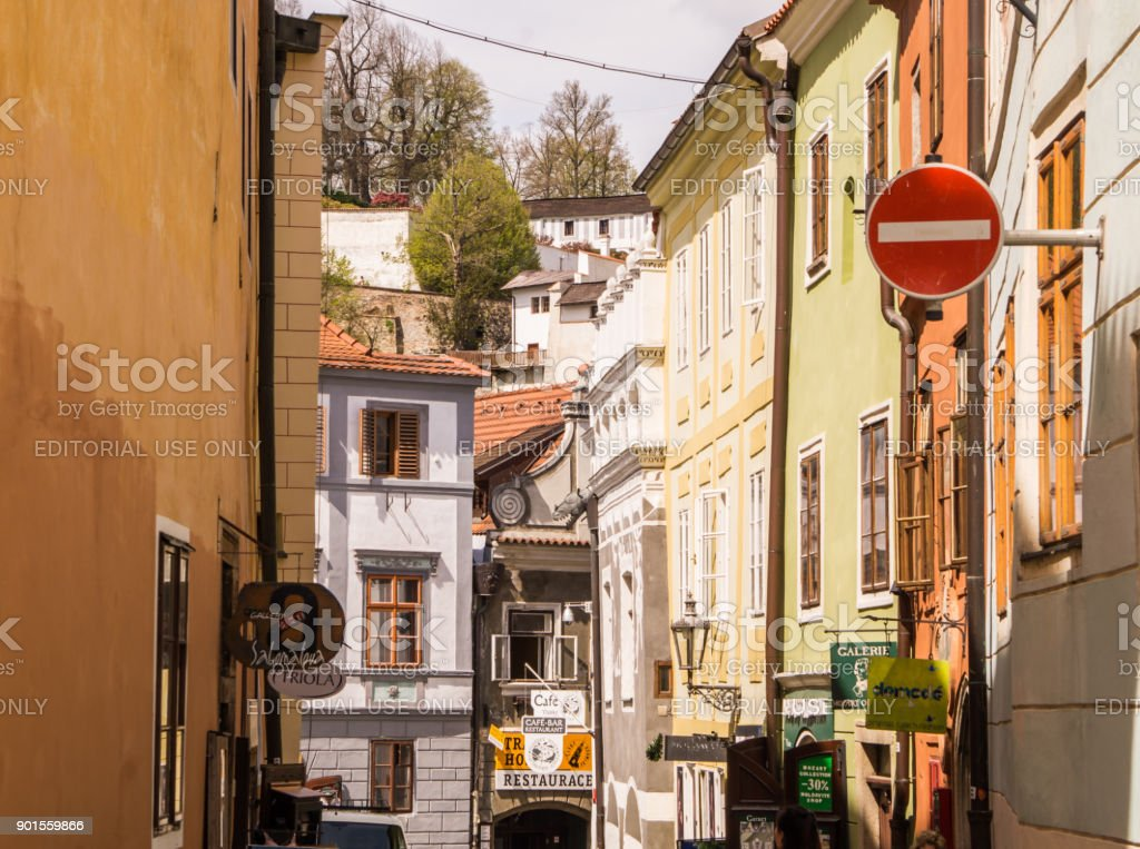 Ancient architecture of Europe. Narrow medieval streets of Cesky Krumlov stock photo