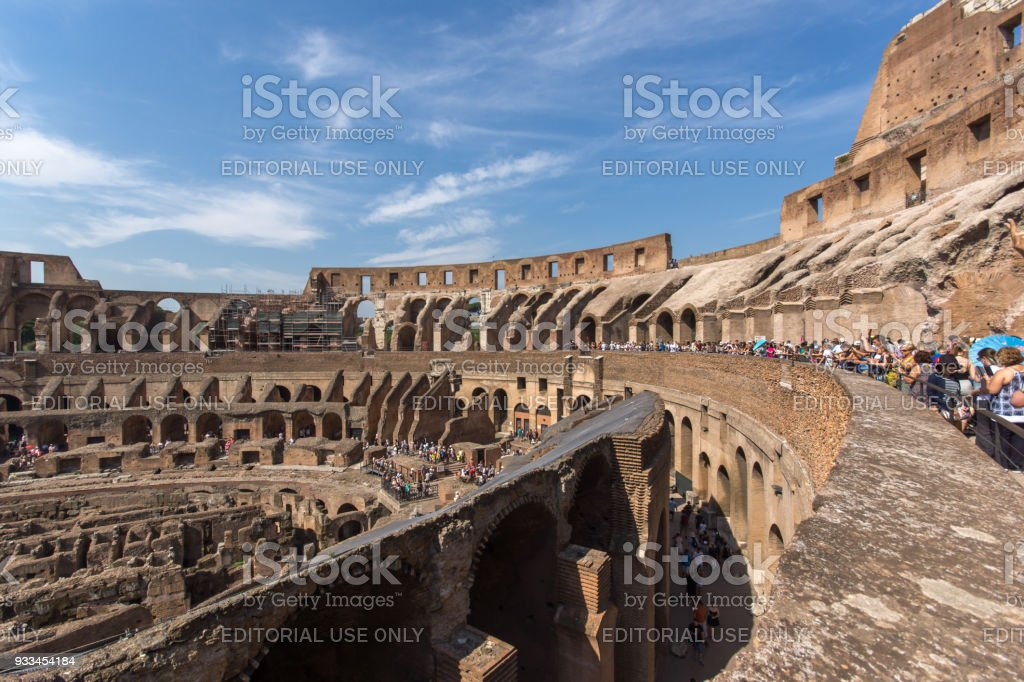 Ancient arena of gladiator Colosseum in city of Rome, Italy