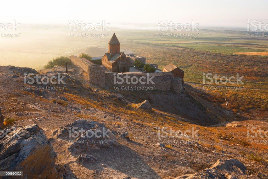 Ancient Armenian church Khor Virap  in sunrise stock photo