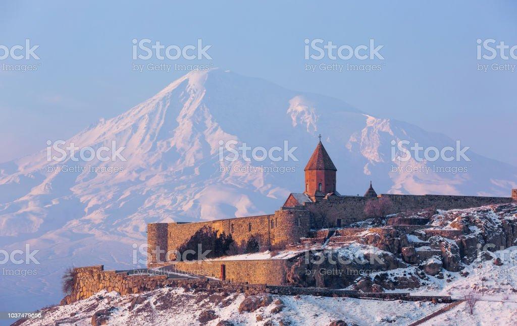 Ancient Armenian church Khor Virap stock photo