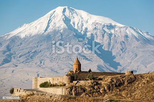 istock Ancient Armenian church Khor Virap with Ararat on the background 626964448