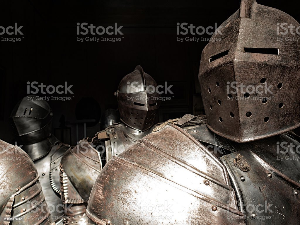 Ancient armor of knights stock photo