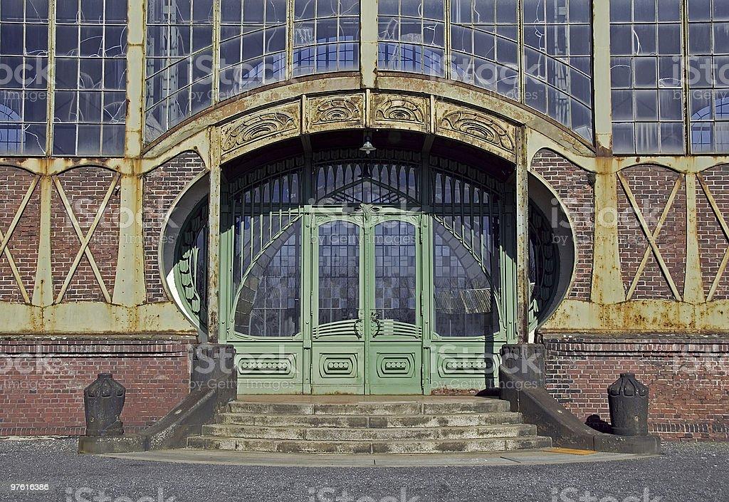 Ancient art nouveau door of an old coal mine royaltyfri bildbanksbilder